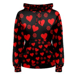 Flowers And Hearts Women s Pullover Hoodies