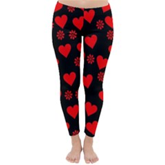 Flowers And Hearts Winter Leggings