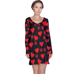 Flowers And Hearts Long Sleeve Nightdresses
