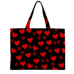Flowers And Hearts Zipper Tiny Tote Bags