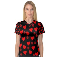 Flowers And Hearts Women s V Neck Sport Mesh Tee