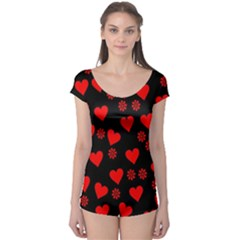 Flowers And Hearts Short Sleeve Leotard