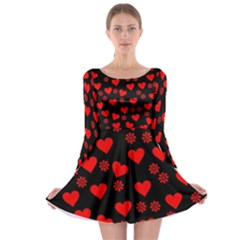 Flowers And Hearts Long Sleeve Skater Dress