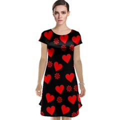 Flowers And Hearts Cap Sleeve Nightdresses