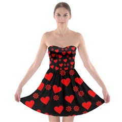 Flowers And Hearts Strapless Bra Top Dress