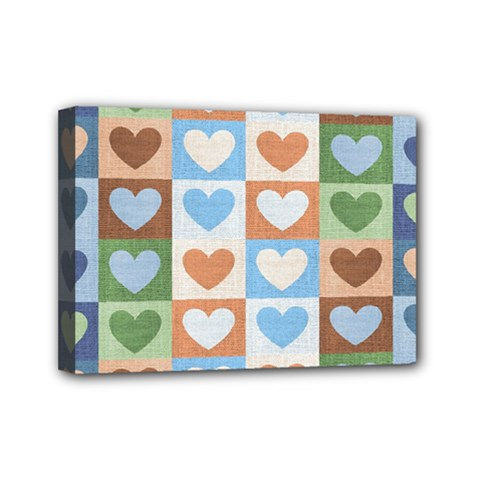Hearts Plaid Mini Canvas 7  x 5
