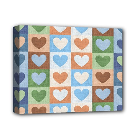 Hearts Plaid Deluxe Canvas 14  x 11