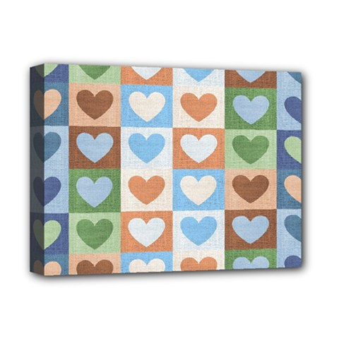 Hearts Plaid Deluxe Canvas 16  x 12