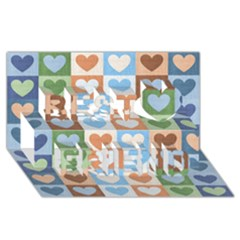 Hearts Plaid Best Friends 3D Greeting Card (8x4)