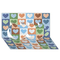 Hearts Plaid Twin Hearts 3D Greeting Card (8x4)