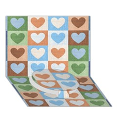 Hearts Plaid Circle Bottom 3d Greeting Card (7x5)