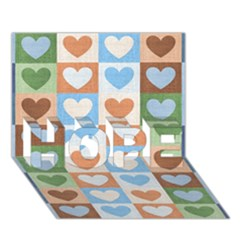 Hearts Plaid HOPE 3D Greeting Card (7x5)
