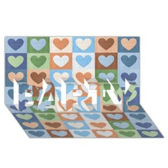 Hearts Plaid PARTY 3D Greeting Card (8x4)