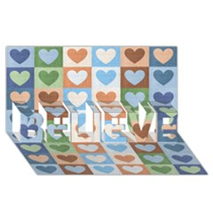 Hearts Plaid BELIEVE 3D Greeting Card (8x4)