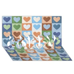 Hearts Plaid Sorry 3d Greeting Card (8x4)