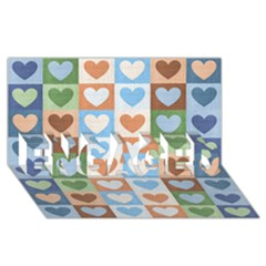 Hearts Plaid Engaged 3d Greeting Card (8x4)