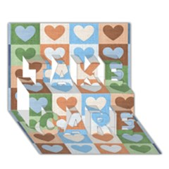 Hearts Plaid TAKE CARE 3D Greeting Card (7x5)