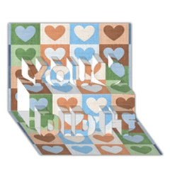 Hearts Plaid You Did It 3D Greeting Card (7x5)
