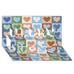 Hearts Plaid Merry Xmas 3D Greeting Card (8x4)