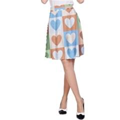 Hearts Plaid A-Line Skirts