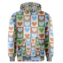 Hearts Plaid Men s Zipper Hoodies