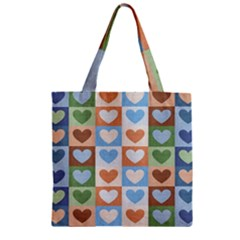 Hearts Plaid Zipper Grocery Tote Bags