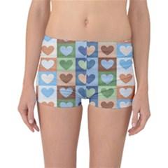 Hearts Plaid Reversible Boyleg Bikini Bottoms