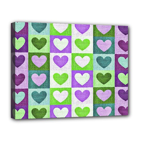 Hearts Plaid Purple Canvas 14  X 11