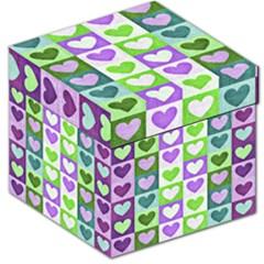 Hearts Plaid Purple Storage Stool 12