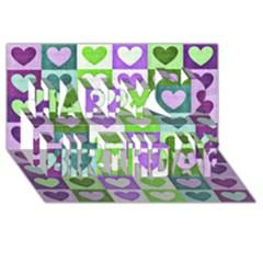 Hearts Plaid Purple Happy Birthday 3D Greeting Card (8x4)