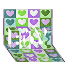 Hearts Plaid Purple BOY 3D Greeting Card (7x5)