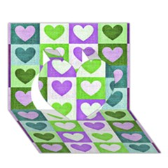 Hearts Plaid Purple Heart 3D Greeting Card (7x5)