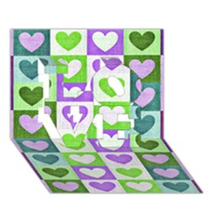 Hearts Plaid Purple Love 3d Greeting Card (7x5)