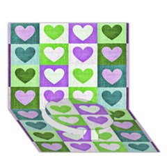 Hearts Plaid Purple Circle Bottom 3D Greeting Card (7x5)