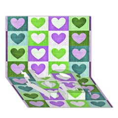 Hearts Plaid Purple LOVE Bottom 3D Greeting Card (7x5)