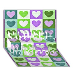 Hearts Plaid Purple You Are Invited 3d Greeting Card (7x5)