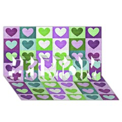 Hearts Plaid Purple #1 MOM 3D Greeting Cards (8x4)