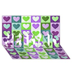 Hearts Plaid Purple #1 DAD 3D Greeting Card (8x4)