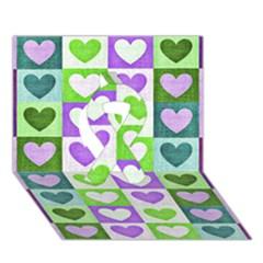 Hearts Plaid Purple Ribbon 3D Greeting Card (7x5)