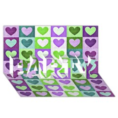 Hearts Plaid Purple PARTY 3D Greeting Card (8x4)