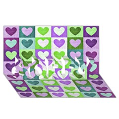 Hearts Plaid Purple SORRY 3D Greeting Card (8x4)