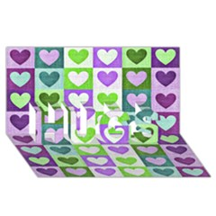 Hearts Plaid Purple HUGS 3D Greeting Card (8x4)