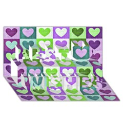 Hearts Plaid Purple Best Wish 3d Greeting Card (8x4)