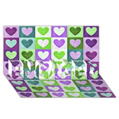 Hearts Plaid Purple ENGAGED 3D Greeting Card (8x4)