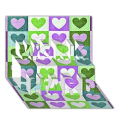 Hearts Plaid Purple WORK HARD 3D Greeting Card (7x5)