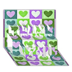 Hearts Plaid Purple THANK YOU 3D Greeting Card (7x5)