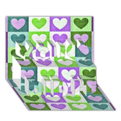 Hearts Plaid Purple You Did It 3D Greeting Card (7x5)