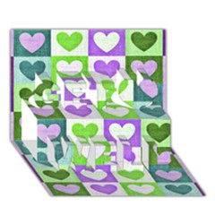 Hearts Plaid Purple Get Well 3D Greeting Card (7x5)