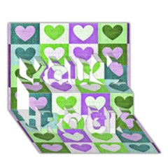 Hearts Plaid Purple You Rock 3d Greeting Card (7x5)
