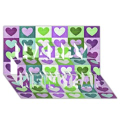 Hearts Plaid Purple Happy New Year 3D Greeting Card (8x4)